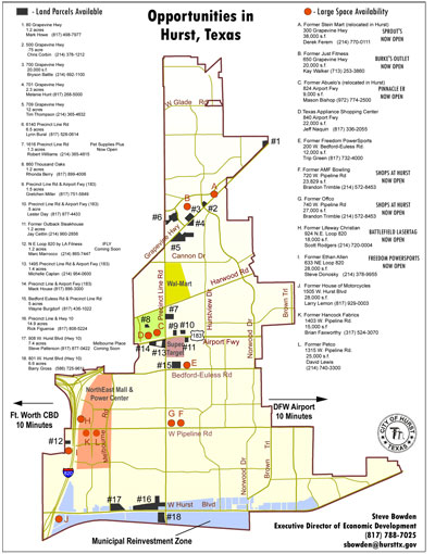 2016 City of Hurst Economic Development Opportunities Map